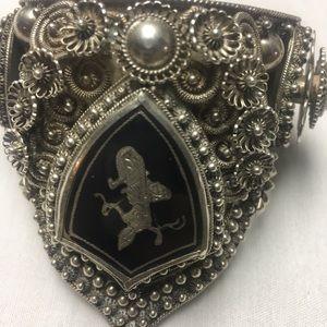 Siam Niello sterling cuff bracelet. Rare estate